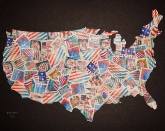 Map of USA / United States of America - Postage Stamp Collage