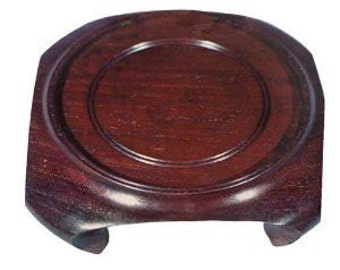 Asian Square Round Wooden Vase / Jar Stand