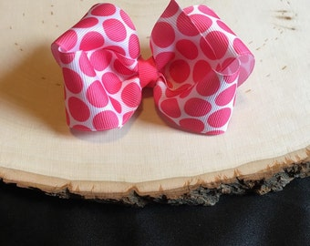 """3"""" White with Pink Polka Dots Boutique Hair Bow"""