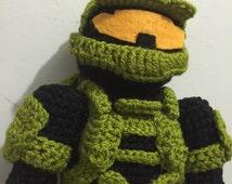 XBOX, Halo, master chief mark IV, amigurimi, knitting, crochet