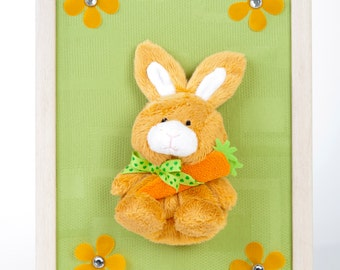 Nursery picture BabyHase children decoration BabyHase animal nursery mural sweet image of baby plush Bunny
