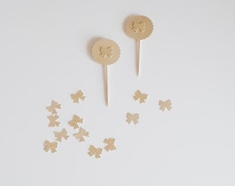 10 Cupcake Toppers Bow Gold & GlitterGold