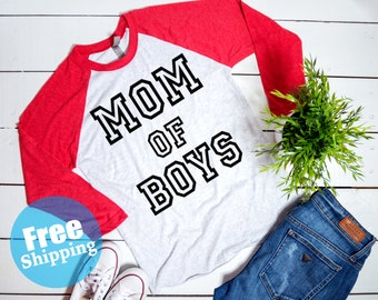 Mom of BOYS Shirt, Mom of Boys Raglan, Trendy Tees for mom, Pregnancy announcement, Blessed mama, Mama Life, Gifts for mom