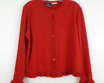 Vintage Lennie for Nina Leonard Candy Apple Red Button Front Ruffled Trim Cardigan Sweater Size Medium Acrylic Wool Made in Romania