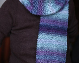 Winter scarf striped multicolored melange blue violet blue sea tones