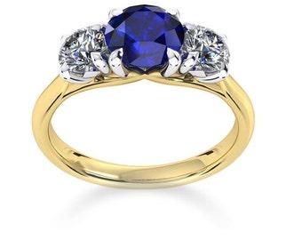 Deep Blue Sapphire & Luxury Diamond's set in Gold Ring