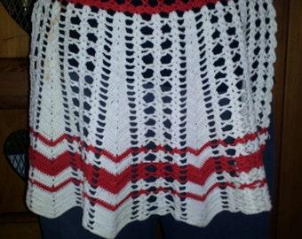 Vintage Hand Crocheted Apron, Retro Apron, Crocheted Apron, Half Apron, Vintage Kitchen, Retro Kitchen, Women's Aprons, Vintage Crochet