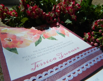 Handmade Flowers wedding invitation