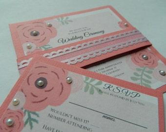 Handmade Pink wedding invitation