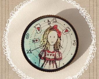 Brooch Alice, alice in the Wonderland