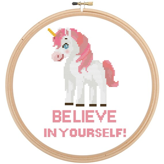 Unicorn Believe in Yourself! Funny Cute Counted Cross Stitch Pattern