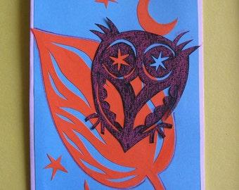 OWL, original collage postcard