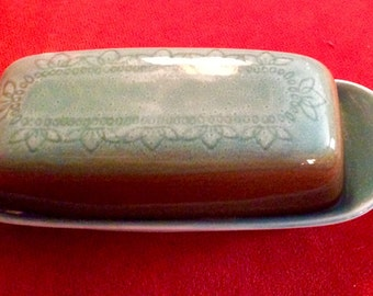 Butter Dish, Vintage Butter Dish,Syracuse Butter Dish,  Tribidad Carefree Calypso turquoise and Brown