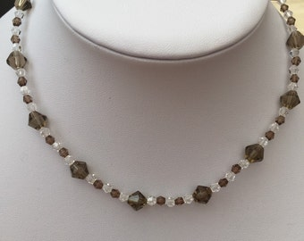 Champagne bicone and clear crystal necklace