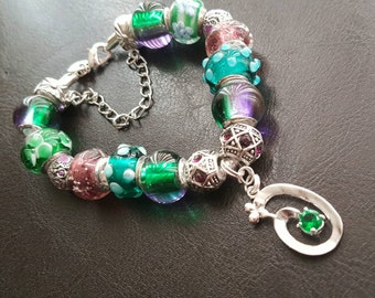 European Murano glass charm bracelet