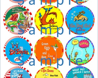 DR. SEUSS, Cat in Hat, Lorax, Grinch:  Cupcake edible image cake toppers
