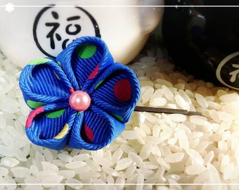 Japanese Kanzashi Hair Pin (Blue Poky Dots)