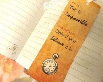 Alice in Wonderland bookmark, vintage bookmark, Alice in Wonderland quote, lace, card, Alice, Mad Hatter