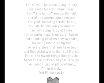 A MOTHER'S THANK YOU poem, Daycare Thank You, Childcare Thank You, Teacher Thank You, Teacher Gift, Babysitter Gift, Grandparents Thank You