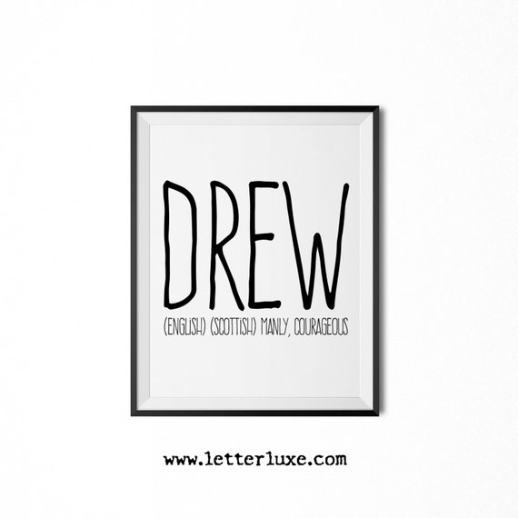 Drew name meaning art printable baby shower gift nursery for Decor meaning