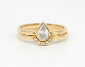 pear shaped stack ring in 18k gold or rose gold by a cup of ring - Nontraditional Wedding Rings