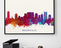 Unique nashville poster related items etsy for Home decor nashville tn
