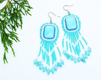 Long beaded  fringe earrings Aquamarine dangle earrings Blue white earrings Boho jewelry  fringe Gemstone earrings embroidery earrings