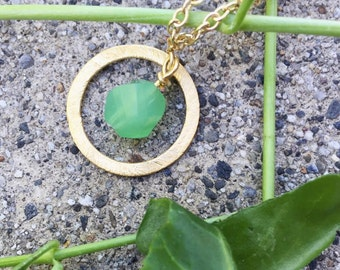 Gold Plated Sandblasted Hoop with Green Bead-Gold Plated Chain