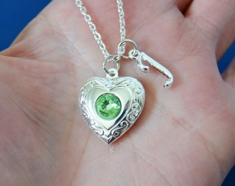 Peridot Birthstone Locket with Initial Charm, Silver Heart Locket, Silver Locket Necklace