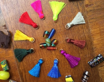 Small Size 30MM Mix Color Silk Cotton Tassel Charm Pendant Fit Various Jewelry Handmade Materials, 1 Pair