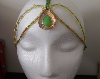Chain Headpiece, Green & Gold