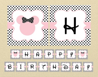 Minnie Mouse Banner, Pink Minnie Mouse, Happy Birthday Banner, Minnie Mouse Birthday, minnie mouse decoration, polkadot birthday banner, pdf
