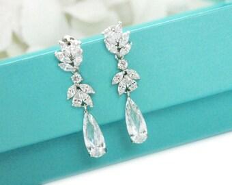 Bridal drop earrings, Handmade wedding earrings, CZ bridal jewelry, Bridesmaid earrings, Wedding jewelry, Teardrop CZ earrings 11375