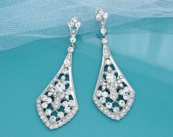 Art Deco bridal earrings, Vintage style Chandelier earrings, Wedding earrings, Rhinestone bridal jewelry, Bridesmaid jewelry earrings 11311