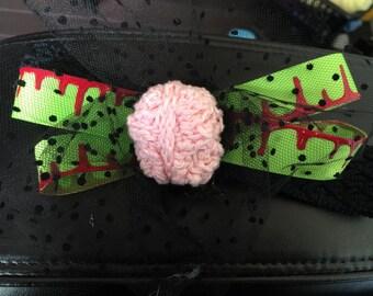 Zombie brain hair clip