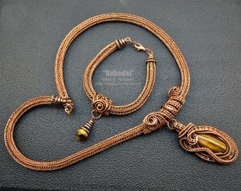 Jewelry Sets. Wire wrap necklace. Wire wrapped Bracelet