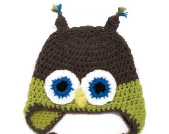 Owl  Earflap Hat - handmade