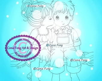 Digital Stamp, Digi Stamp, digistamp,  Kissed By An Angel by Conie Fong, valentines, love, coloring page, boy, girl, children, friendship