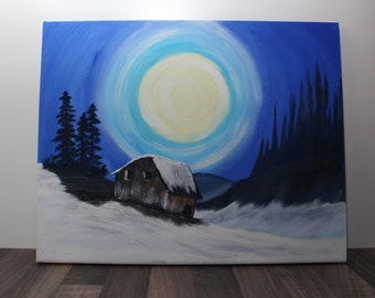 House in a winter landscape - painting