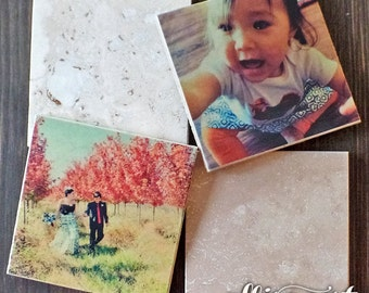 Personalized Custom Photo Coasters, Ivory Travertine Stone, Perfect Gift Idea, Wedding Coasters, Baby Showers, Graduations & Special Events