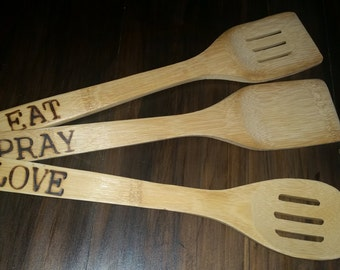 Wooden spoons - eat, pray, love - kitchen