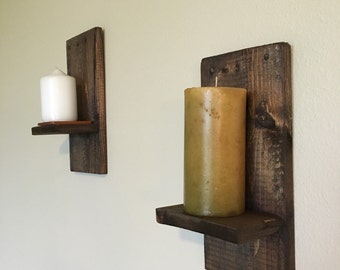 Rustic wall sconces-Reclaimed wall sconces-Country home wall decor- Farmhouse Candle holder-Handcrafted decor