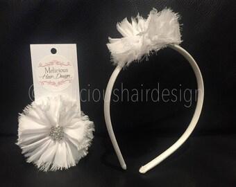 Frayed Chiffon Ballerina Flower Clip/Headband - White