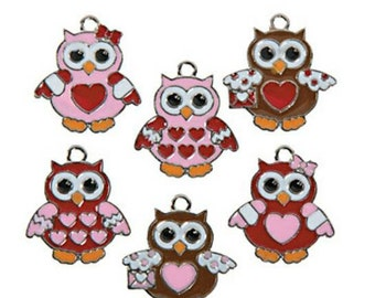 Valentines Owls charms - set of 12