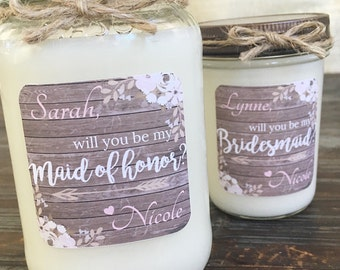 Rustic Chic Will You Be My Bridesmaid | Personalized Soy Candle | Wedding | Will You Be My Maid of Honor