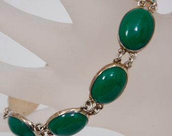 Antique Jade and Sterling Bracelet, marked Taxco Mexico, circa 1940