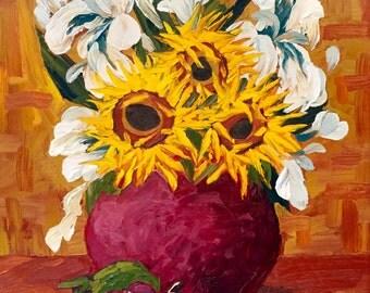 Sunflower decor, sunflower painting, sunflower art, sunflower oil painting, Iris art, Iris oil painting, iris sunflower oil painting