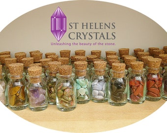 A filled jar of authentic crystal chip gemstones