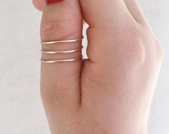 Silver Layered Ring, Silver wire wrap ring, Layered Midi ring, Silver Midi ring, Silver stacking ring