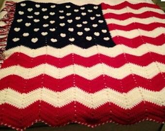 USA flag crocheted blanket